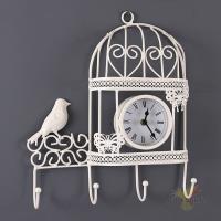 Часы настенные с крючками, 28*33 см, диаметр циферблата 8 см