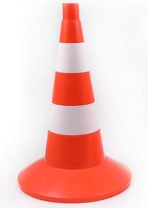 Конус сигнальный оградительный 520мм с утяжелителем оранжевый с 2 белыми полосами