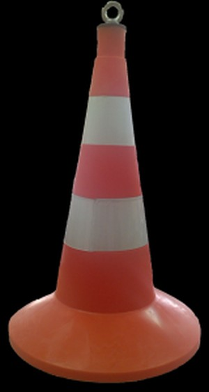 Дорожная фишка 520мм с утяжелителем оранжевая с 2 светоотражающими полосами