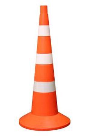 Конус сигнальный оградительный 750мм с утяжелителем оранжевый с 3 белыми полосами