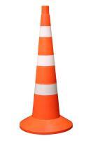 Дорожная фишка 750мм с утяжелителем оранжевая с 3 белыми полосами