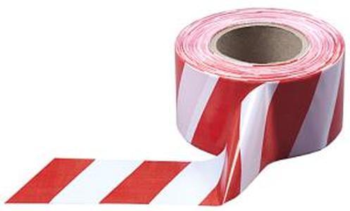 Лента сигнальная для ограждений 200 п.м. 75мм 35мкм красно-белая