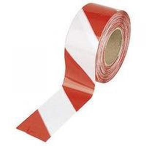 Лента сигнальная оградительная 50п.м. 75мм 50мкм красно-белая