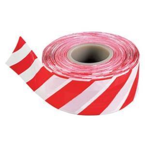 Лента сигнальная для ограждений 50п.м. 75мм 50мкм красно-белая