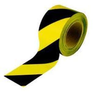 Лента сигнальная оградительная 500 п.м., 75мм, 50мкм черно-желтая