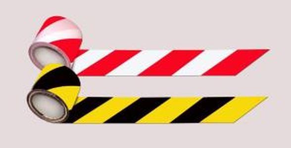 Лента сигнальная для ограждений 500 п.м., 75мм, 50мкм черно-желтая