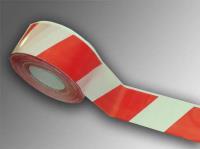 Лента сигнальная оградительная 500 п.м., 75мм, 50мкм красно-белая