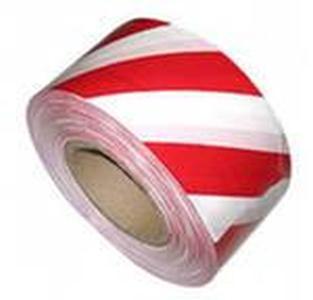 Лента сигнальная для ограждений 500 п.м., 75мм, 50мкм красно-белая