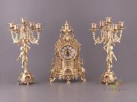 Комплект:часы каминные + 2 подсвечника