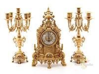 Комплект:каминные часы+2 подсвечника.высота=41 см.