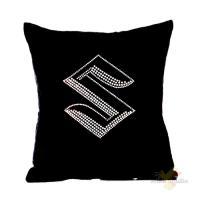 Подушка декоративная 35*35 стразы, бархат, х/ф, черный