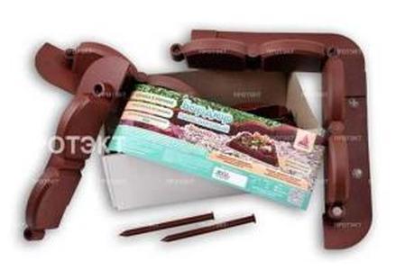 Декоративный пластиковый бордюр для дорожек 2,56М волна коричневый