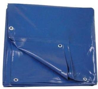 Тент с люверсами ПВХ 6*8м плотность 600г/м2 Двухсторонний (синий)