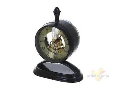 """Часы настольные (часы-d=11см батарейка-1""""ААА"""") 14,5*9*19см (металл-алюминий, стекло) (подарочная упа"""