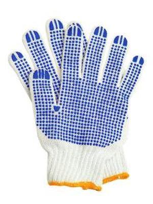 Хлопчатобумажные перчатки рабочие с ПВХ10шт/упак Точка