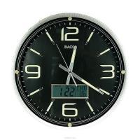 Часы настенные: календарь, термометр, электрон. часы 42см (уп.1/8шт.)