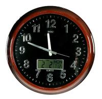 Часы настенные: календарь, термометр, электрон. часы 46см (уп.1/8шт.)
