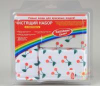 Набор чистящий Rainbow home салфетка абраз.17*19+салфетка35*35+спонж8*12*2,5+губка8*12*2,5 вишня