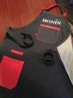 Фартук «Монин»; джинс,кожа; красный
