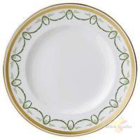 Тарелка мелкая «Титаник»; фарфор; D=27см; белый,зелен.