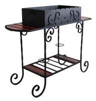 Мангал для дачи на кованой подставке и столиками ММ-21