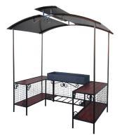Мангал-беседка с крышей и столом ММ-27