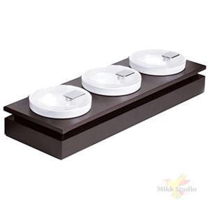 Набор салатников на подставке с крышкой [3шт]; D=14см