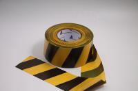 Лента оградительная ЛО-250 Стандарт 75мм 50мкр 250п.м черно-желтая