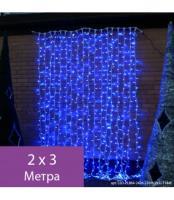 Светодиодные гирлянда Занавес, белая несущая жила с Т-коннекторами, 24 прозрачные нити, прозрачный P