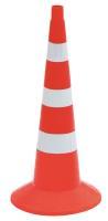 Конус сигнальный КС-3.4.0 75см упругий 3 белые полосы с утяжелителем оранжевый