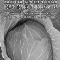 Капуста белокоч. №1 Грибовский 147 0,5 г ранняя  (б/п)