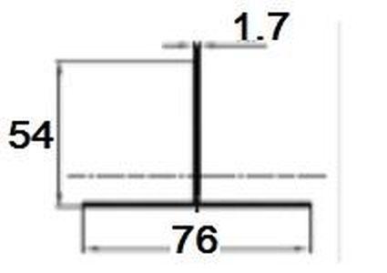 Т- профиль / PDF-1021 / 76/54/1.7 мм, (L=3000 мм)