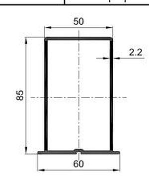 Н- профиль / PDF-1044 / 60/85/2.2 мм, (L=3000 мм)