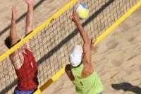 Сетка для пляжного волейбола  1х8.5 м (нить 3мм) Черная ,стропа розовая/желтая