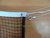 Сетка для бадминтона 0,76х6 м нить 1.5мм черная (пара) + люверсы, коуш, зажим и металлический трос