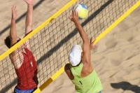 Сетка для пляжного волейбола  1х8.5 м нить 3мм черный, стропа розовая/желтая