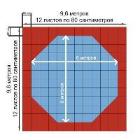 Корт (додянг) 25мм восьмиугольный тренировочный 9,6х9,6 м