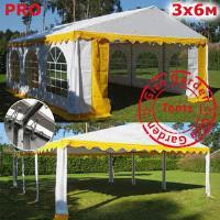 Шатер Giza Garden 3x6м бело-желтый PRO (высота стенок 2.4м./в коньке: 3.7м)
