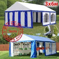 Шатер Giza Garden 3x6м сине-белый PRO (высота стенок 2.4м./в коньке: 3.7м)