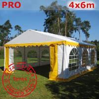 Шатер Giza Garden 4 x6м желто белый PRO (высота стенок 2.4м./в коньке: 3.7м)