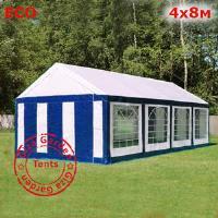 Шатер Giza Garden 4 x8м бело-синий (высота стенок 2.6м./в коньке: 3.1м)