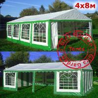 Шатер Giza Garden 4 x8м зелено-белый PRO (высота стенок 2.4м./в коньке: 3.7м)