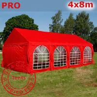 Шатер Giza Garden 4 x8м красный PRO (высота стенок 2.4м./в коньке: 3.7м)