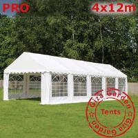 Шатер Giza Garden 4 x12м белый PRO (высота стенок 2.4м./в коньке: 3.7м)