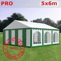 Шатер Giza Garden 5 x6м зелено белый PRO (высота стенок 2.4м./в коньке: 3.7м)