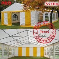 Шатер Giza Garden 5 x10м желто белый PRO (высота стенок 2.4м./в коньке: 3.7м)