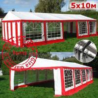 Шатер Giza Garden 5 x10м красно белый PRO (высота стенок 2.4м./в коньке: 3.7м)