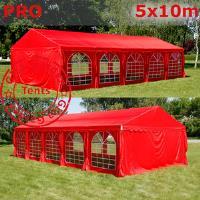 Шатер Giza Garden 5 x10м красный PRO (высота стенок 2.4м./в коньке: 3.7м)