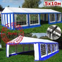 Шатер Giza Garden 5 x10м сине белый PRO (высота стенок 2.4м./в коньке: 3.7м)