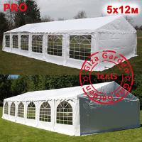 Шатер Giza Garden 5 x12м белый PRO (высота стенок 2.4м./в коньке: 3.8м)